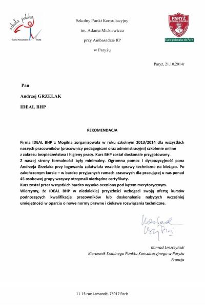 Szkolny Punkt Konsultacyjny im. Adama Mickiewicza przy Ambasadzie RP w Paryżu