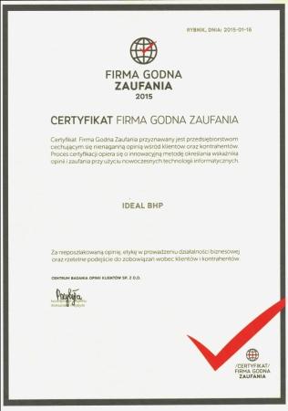 Certyfikat Firma Godna Zaufania 2015 r.