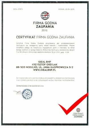 Certyfikat Firma Godna Zaufania 2016 r.