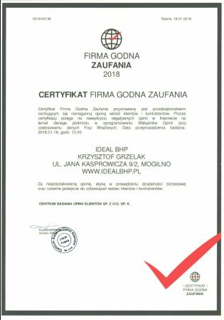 Certyfikat Firma Godna Zaufania 2018 r.