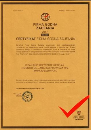 Certyfikat Firma Godna Zaufania Gold 2017 r.