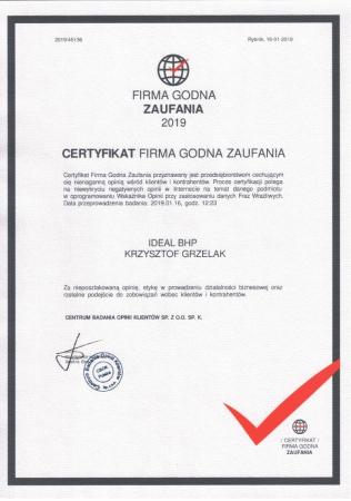 Statuetka Firma Godna Zaufania 2019 r.