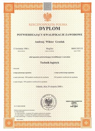 Dyplom potwierdzający kwalifikację zawodowe Technik logistyk