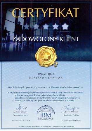 Certyfikat ZADOWOLONY KLIENT