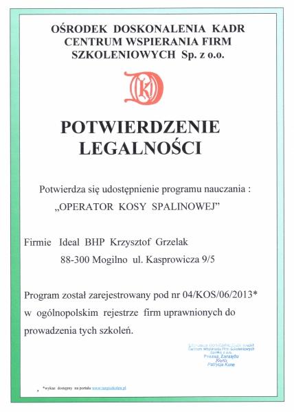 Potwierdzenie legalności programu nauczania w zakresie prowadzenia szkoleń dla operatorów kos spalinowych.