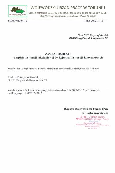 Wpis do Rejestru Instytucji Szkoleniowych prowadzony przez Wojewódzki Urząd Pracy w Toruniu