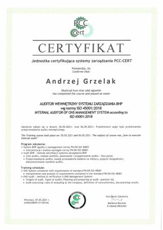 Certyfikat ukończenia szkolenia - Auditor wewnętrzny systemu zarządzania BHP
