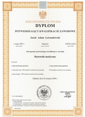 Dyplom potwierdzający kwalifikacje zawodowe - Ratownik medyczny