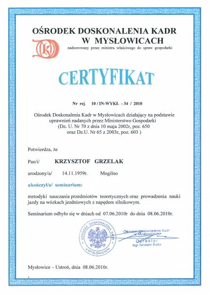 Certyfikat Ośrodka Doskonalenia Kadr w Mysłowicach