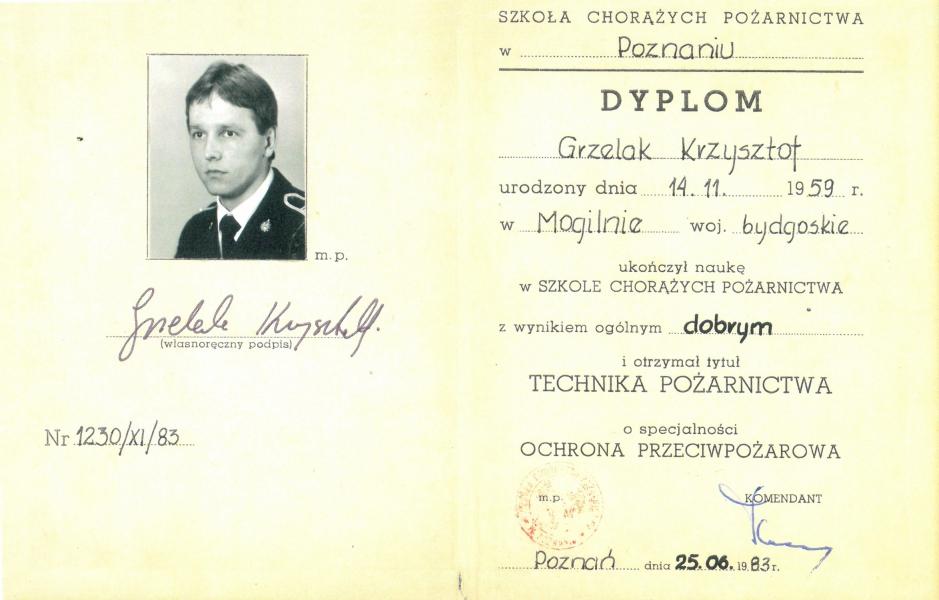 Dyplom Szkoły Chorążych Pożarnictwa w Poznaniu
