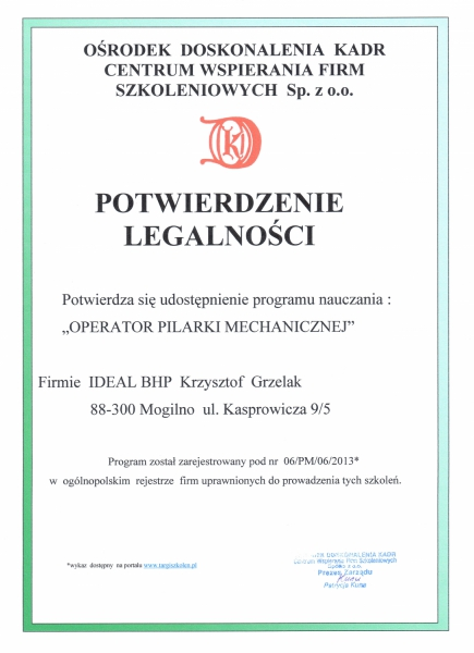 17.Potwierdzenie legalności programu nauczania w zakresie prowadzenia szkoleń dla operatorów pilarek mechanicznych.