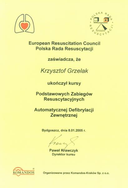 Zaświadczenie z kursu instruktorskiego Polskiej Rady Resuscytacji.