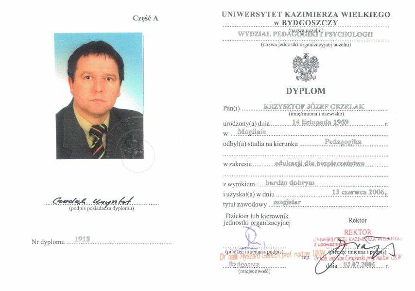 Dyplom ukończenia studiów magisterskich na kierunku Pedagogika.