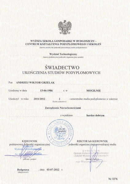 Dyplom ukończenia studiów magisterskich na kierunku Zarządzanie Nieruchomościami