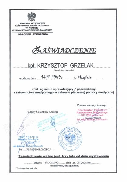 Egzamin sprawdzający z ratownictwa medycznego