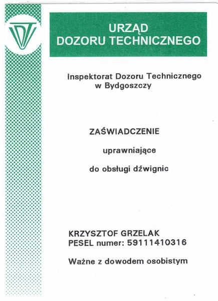 Uprawnienia UDT do obsługi dźwignic
