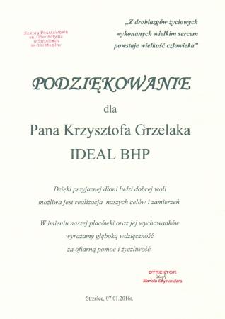 Podziękowowania od Dyrektora Szkoły Podstawowej im. Ofiar Katynia w Strzelcach