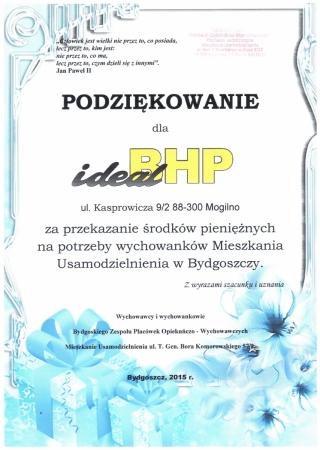 Podziękowania za przekazanie środków pieniężnnych na potrzeby wychowanków Mieszkania Usamodzielniania w Bydgoszczy.